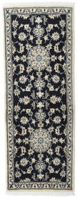 Nain Rug 80X197 Authentic  Oriental Handknotted Hallway Runner  Black/Beige (Wool, Persia/Iran)