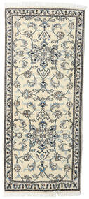 Nain Rug 80X197 Authentic  Oriental Handknotted Hallway Runner  Beige/Light Grey (Wool, Persia/Iran)