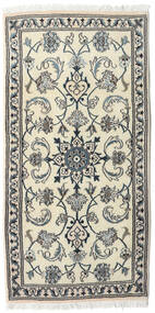 Nain Rug 70X140 Authentic  Oriental Handknotted Beige/Dark Grey (Wool, Persia/Iran)
