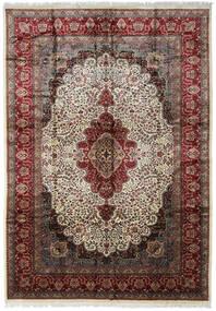 Kashmir Art. Silke Matta 274X394 Äkta Orientalisk Handknuten Mörkbrun/Ljusbrun Stor ( Indien)