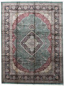 Kashmir Art. Silke Teppe 274X368 Ekte Orientalsk Håndknyttet Lys Grå/Mørk Grå Stort ( India)