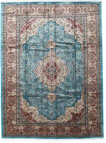 Kashmir Art. Zijde Vloerkleed 276X370 Echt Oosters Handgeknoopt Lichtgrijs/Zwart Groot ( India)