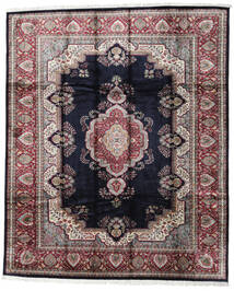 Kashmir Art. Silk Rug 246X300 Authentic  Oriental Handknotted Black/Light Grey ( India)