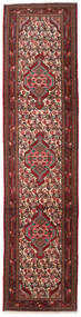 Hosseinabad Rug 80X329 Authentic  Oriental Handknotted Hallway Runner  Dark Red/Dark Grey (Wool, Persia/Iran)