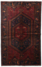Hamadan Rug 150X235 Authentic  Oriental Handknotted Black/Dark Red (Wool, Persia/Iran)