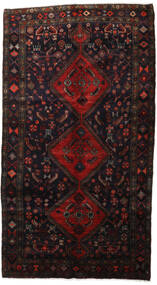 Hamadan Rug 157X289 Authentic  Oriental Handknotted Black/Dark Red (Wool, Persia/Iran)