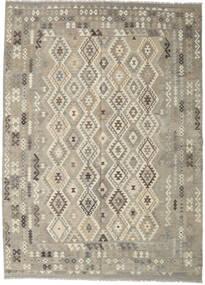 Kelim Afghan Old Style Vloerkleed 247X345 Echt Oosters Handgeweven Lichtgrijs/Donkerbeige (Wol, Afghanistan)
