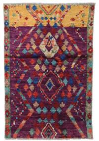 Moroccan Berber - Afganistan Teppe 78X119 Ekte Moderne Håndknyttet Mørk Rød/Mørk Lilla (Ull, Afghanistan)