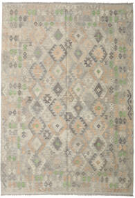 Kilim Afghan Old Style Rug 208X297 Authentic  Oriental Handwoven Light Grey/Olive Green (Wool, Afghanistan)