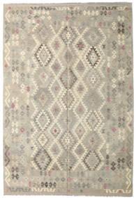 Kelim Afghan Old Style Teppich  206X307 Echter Orientalischer Handgewebter Hellgrau/Dunkel Beige (Wolle, Afghanistan)