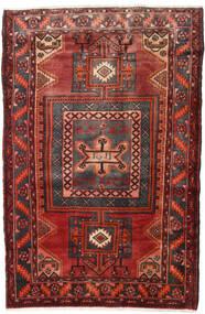 Hamadan Rug 132X198 Authentic  Oriental Handknotted Dark Red/Dark Brown (Wool, Persia/Iran)
