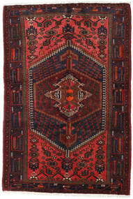 Hamadan Rug 131X193 Authentic  Oriental Handknotted Dark Red (Wool, Persia/Iran)