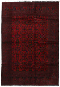 Afghan Khal Mohammadi Matta 200X285 Äkta Orientalisk Handknuten Mörkröd (Ull, Afghanistan)