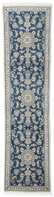 Nain Rug 73X296 Authentic  Oriental Handknotted Hallway Runner  Light Grey/Dark Grey (Wool, Persia/Iran)