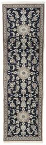 Nain Teppe 80X250 Ekte Orientalsk Håndknyttet Teppeløpere Lys Grå/Mørk Blå/Mørk Grå (Ull, Persia/Iran)