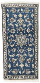 Nain Alfombra 65X138 Oriental Hecha A Mano Azul Oscuro/Gris Claro (Lana, Persia/Irán)