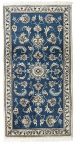 Nain Rug 70X132 Authentic  Oriental Handknotted Dark Blue/Light Grey (Wool, Persia/Iran)