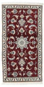 Nain Rug 68X135 Authentic  Oriental Handknotted Dark Red/Light Grey (Wool, Persia/Iran)