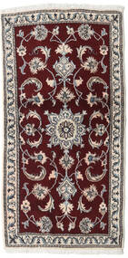 Nain Szőnyeg 69X141 Keleti Csomózású Világosszürke/Sötétpiros/Sötétbarna (Gyapjú, Perzsia/Irán)