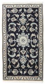 Nain Rug 72X135 Authentic  Oriental Handknotted Dark Blue/Light Grey (Wool, Persia/Iran)