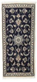Nain Rug 65X143 Authentic  Oriental Handknotted Dark Blue/Beige (Wool, Persia/Iran)
