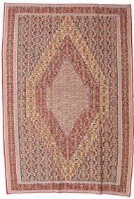 Kelim Senneh Tæppe 199X295 Ægte Orientalsk Håndvævet Mørkerød/Mørkegrå (Uld, Persien/Iran)