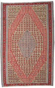 Kelim Senneh Tæppe 194X309 Ægte Orientalsk Håndvævet Mørkebrun/Mørkerød (Uld, Persien/Iran)