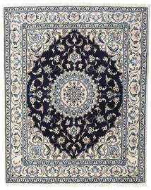 Nain Teppich  198X245 Echter Orientalischer Handgeknüpfter Hellgrau/Schwartz (Wolle, Persien/Iran)