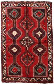 Shiraz Matta 155X241 Äkta Orientalisk Handknuten Mörkröd/Roströd (Ull, Persien/Iran)