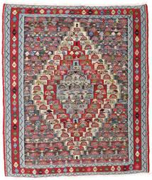 Kilim Senneh Alfombra 127X147 Oriental Tejida A Mano Gris Claro/Rojo Oscuro (Lana, Persia/Irán)