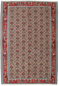 Kelim Senneh Vloerkleed 130X194 Echt Oosters Handgeweven Lichtgrijs/Donkerrood (Wol, Perzië/Iran)
