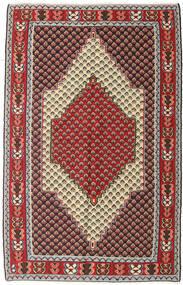 Kilim Senneh Tappeto 127X202 Orientale Tessuto A Mano Marrone Scuro/Rosso Scuro (Lana, Persia/Iran)