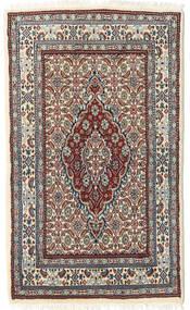 Moud Rug 54X91 Authentic  Oriental Handknotted Light Grey/Beige (Wool/Silk, Persia/Iran)