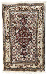 Moud Rug 57X89 Authentic  Oriental Handknotted Dark Brown/Light Grey (Wool/Silk, Persia/Iran)