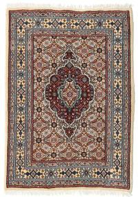 Moud Teppich  62X89 Echter Orientalischer Handgeknüpfter Dunkelbraun/Hellgrau (Wolle/Seide, Persien/Iran)