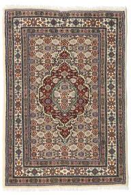 Moud Teppich  60X87 Echter Orientalischer Handgeknüpfter Dunkelbraun/Beige (Wolle/Seide, Persien/Iran)