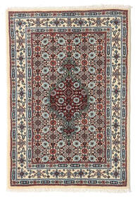 Moud Rug 59X86 Authentic  Oriental Handknotted Light Grey/Dark Brown (Wool/Silk, Persia/Iran)