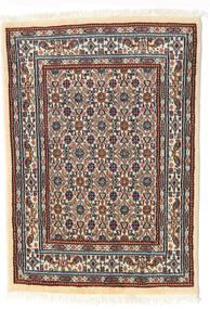 Moud Rug 62X85 Authentic  Oriental Handknotted Beige/Dark Brown (Wool/Silk, Persia/Iran)