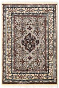 Moud Dywan 59X85 Orientalny Tkany Ręcznie Ciemnobrązowy/Jasnoszary/Beżowy (Wełna/Jedwab, Persja/Iran)