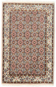 Moud Rug 57X90 Authentic  Oriental Handknotted Dark Brown/Light Brown (Wool/Silk, Persia/Iran)
