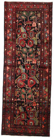 Hamadan Rug 106X292 Authentic  Oriental Handknotted Hallway Runner  Dark Red/Dark Brown (Wool, Persia/Iran)
