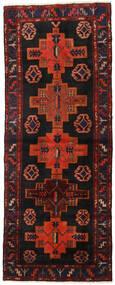 Hamadan Rug 106X270 Authentic  Oriental Handknotted Hallway Runner  Dark Brown/Dark Red (Wool, Persia/Iran)