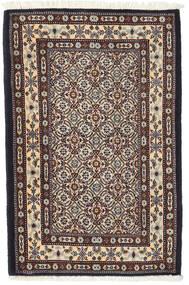 Moud Rug 59X89 Authentic  Oriental Handknotted Dark Red/Beige (Wool/Silk, Persia/Iran)