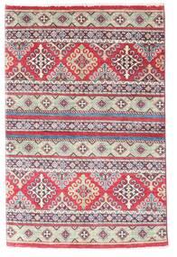 Kazak Tapis 96X147 D'orient Fait Main Violet/Gris Clair (Laine, Pakistan)