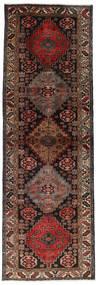 Hamadan Rug 98X296 Authentic  Oriental Handknotted Hallway Runner  Dark Brown/Dark Red (Wool, Persia/Iran)