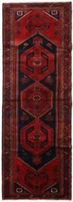 Hamadan Rug 106X300 Authentic  Oriental Handknotted Hallway Runner  Dark Red/Dark Brown (Wool, Persia/Iran)