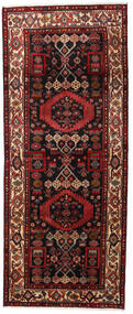 Hamadan Rug 120X285 Authentic  Oriental Handknotted Hallway Runner  Dark Red/Dark Brown (Wool, Persia/Iran)