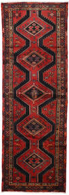 Hamadan Rug 100X290 Authentic  Oriental Handknotted Hallway Runner  Dark Red/Black (Wool, Persia/Iran)