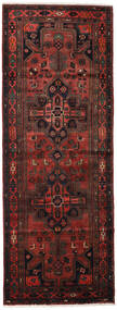 Hamadan Rug 108X288 Authentic  Oriental Handknotted Hallway Runner  Dark Red/Dark Brown (Wool, Persia/Iran)