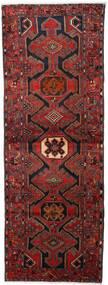 Hamadan Rug 108X295 Authentic  Oriental Handknotted Hallway Runner  Dark Red/Black (Wool, Persia/Iran)